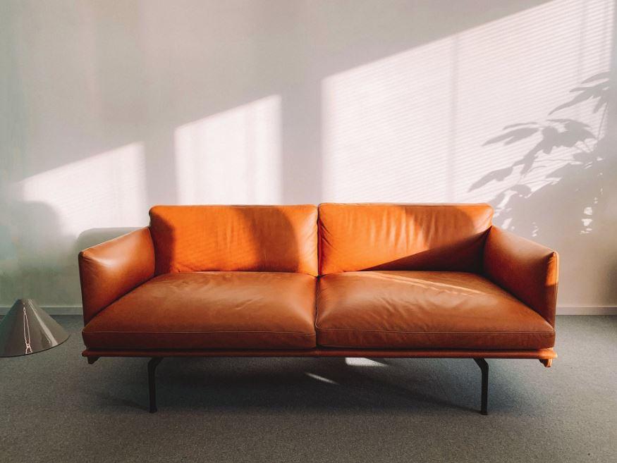 modern orange couch